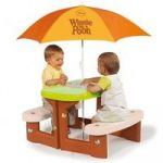 بازی های فضای باز کودک - نیمکت و چتر و میز